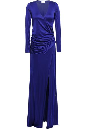 GALVAN Women Casual Dresses - Woman Allegra Wrap-effect Gathered Satin-jersey Gown Royal Size 36