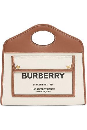 Burberry Small two-tone logo-print tote bag - Neutrals