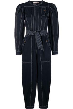 ULLA JOHNSON Leo contrast-stitching denim jumpsuit
