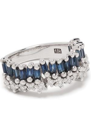 Suzanne Kalan 18kt white gold diamond sapphire half band ring
