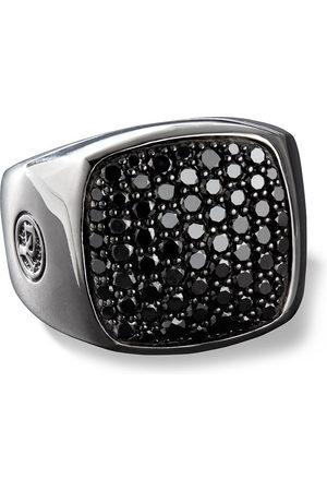 David Yurman Men Rings - Black diamond-embellished signet ring
