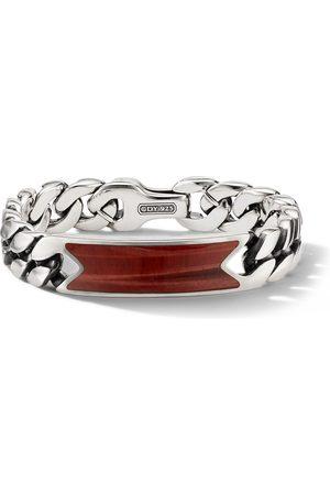 David Yurman Sterling tiger eye curb-chain ID bracelet