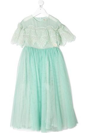 ELIE SAAB JUNIOR Tulle lace flounce gown