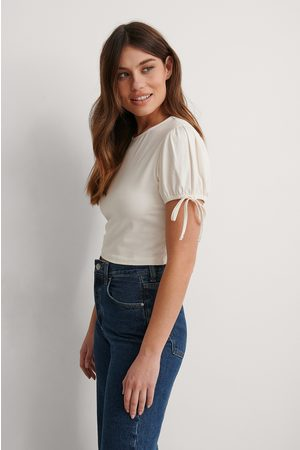 NA-KD Cropped Jersey Top - White