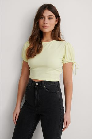 NA-KD Cropped Jersey Top - Yellow