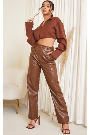 PRETTYLITTLETHING Women Trousers - Petite Chocolate Mock Croc PU Trousers