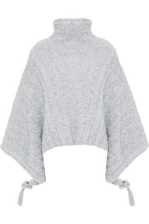J.W.Anderson Women Turtlenecks - Woman Metallic Ribbed Tinsel Turtleneck Sweater Size M