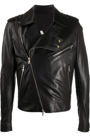Balmain Silver zip-detail biker jacket