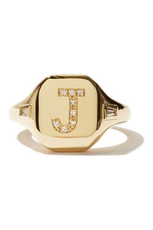 Shay Initial Diamond & 18kt Pinky Ring (i-q) - Womens