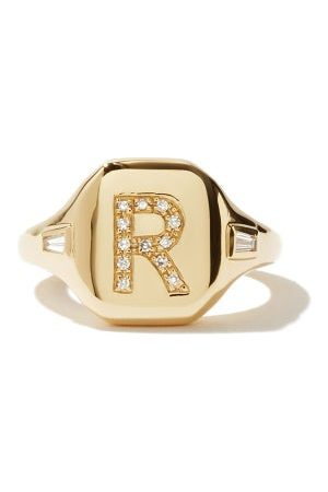 Shay Initial Diamond & 18kt Pinky Ring (r-z) - Womens