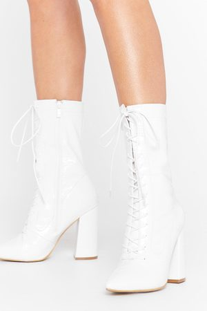 Nasty Gal Womens Crop Lace Up Heeled Boots