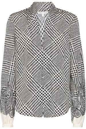 VERONICA BEARD Beata checked stretch-silk blouse