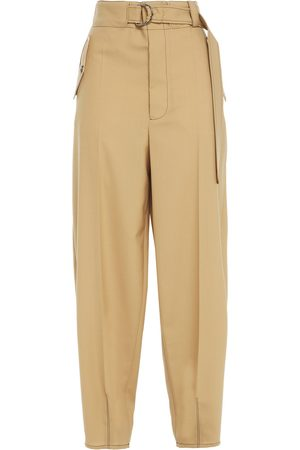 MARNI Women Trousers - Woman Belted Wool Tapered Pants Size 38