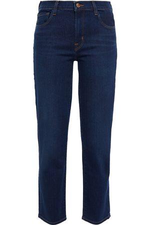 J Brand Women Slim - Woman Mid-rise Slim-leg Jeans Dark Denim Size 24