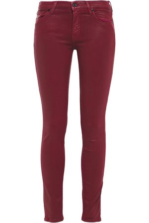 7 for all Mankind Women Skinny - Woman The Skinny Coated Mid-rise Skinny Jeans Brick Size 24