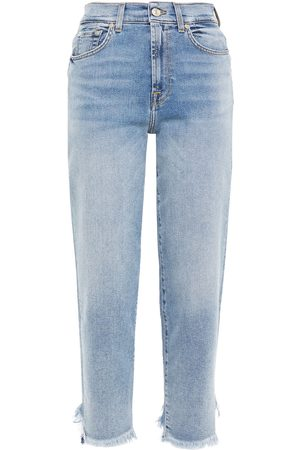 7 for all Mankind Women Straight - Woman Malia Cropped Distressed High-rise Tapered Jeans Mid Denim Size 24