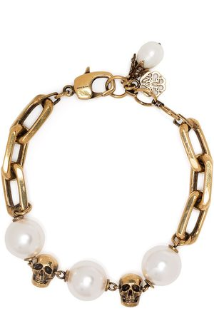 Alexander McQueen Pearl-embellished skull bracelet