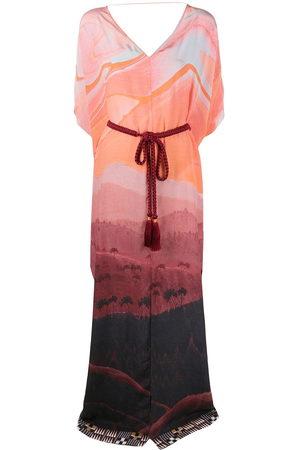 Matthew Williamson Landscape print kaftan dress