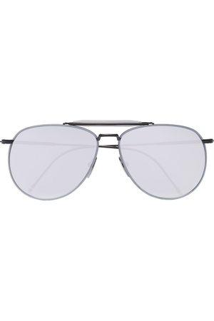 Thom Browne Metallic Silver Aviator Sunglasses
