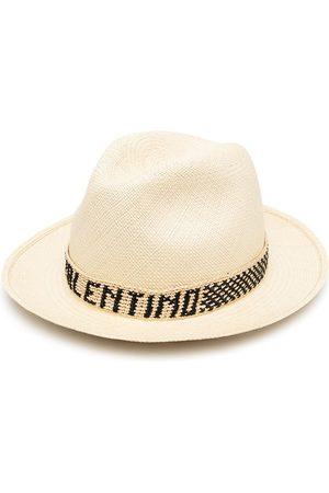 VALENTINO Logo-band straw hat - Neutrals