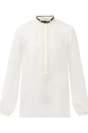 GABRIELA HEARST Vlychos Leather-strap Silk-voile Blouse - Womens - Ivory