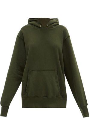 Les Tien Brushed-back Cotton Hooded Sweatshirt - Womens - Khaki