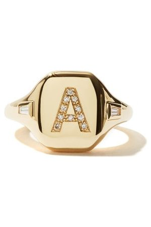 Shay Initial Diamond & 18kt Pinky Ring (a-i) - Womens