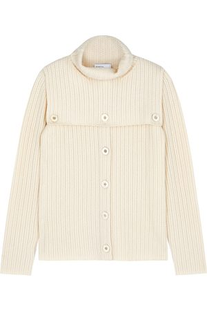 ROSETTA GETTY Dickie Ivory Textured-knit Cashmere Cardigan