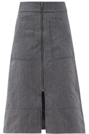 Ssone Oak Denim A-line Skirt - Womens - Denim
