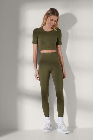 NA-KD Flow Women Leggings - Seamless High Waist Leggings - Green