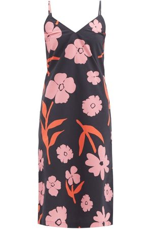 Cala De La Cruz Rafaela Floral-print Cotton-poplin Midi Dress - Womens - Navy Multi