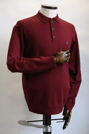 Gabicci Men Polo Shirts - Francesco Port Long-Sleeved Knitted Polo Shirt
