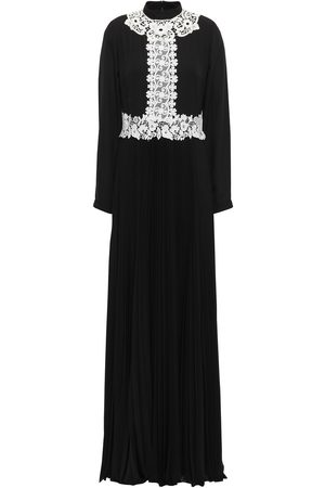 MIKAEL AGHAL Woman Guipure Lace-appliquéd Pleated Crepe Gown Size 10