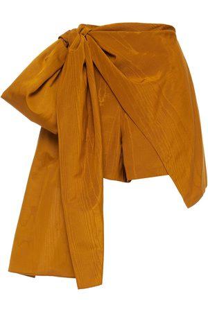 Oscar de la Renta Woman Skirt-effect Bow-detailed Cotton-blend Moiré And Faille Shorts Marigold Size 0