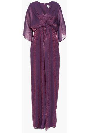 Rachel Zoe Woman Twist-front Metallic Leopard-jacquard Maxi Dress Violet Size 0