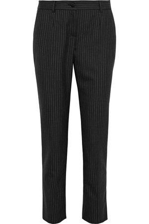 Dolce & Gabbana Woman Pinstriped Wool Slim-leg Pants Charcoal Size 36