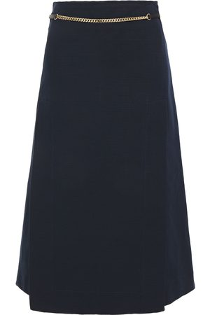 Victoria Beckham Woman Leather And Chain-trimmed Linen And Cotton-blend Skirt Navy Size 6
