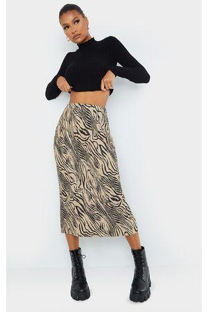PRETTYLITTLETHING Zebra Print Plisse Printed Midi Skirt