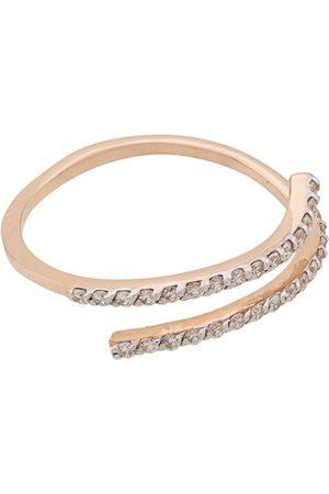 Milka 14kt rose 2 Diamond Rows pinky ring