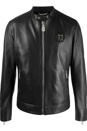 Philipp Plein Logo-patch leather jacket