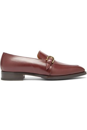 Gucci Men Loafers - Zola Buckled Leather Loafers - Mens - Burgundy