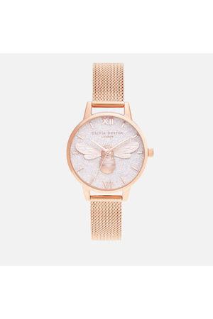 Olivia Burton Women's Glitter Dial Lucky Bee Watch - Rose Mesh