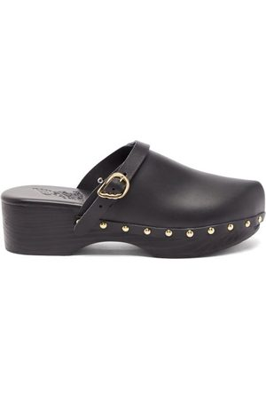 Ancient Greek Sandals Wing-buckle Leather Clog Mules - Womens