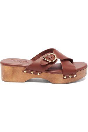 Ancient Greek Sandals Marlisa Leather Clogs - Womens - Dark