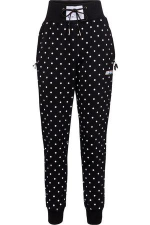 Adam Selman Sport Polka-dot high-rise cotton-blend trackpants