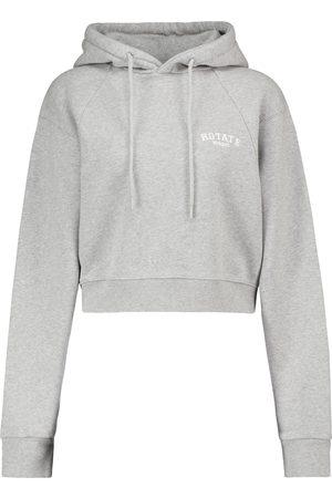 ROTATE Cropped cotton jersey sweatshirt