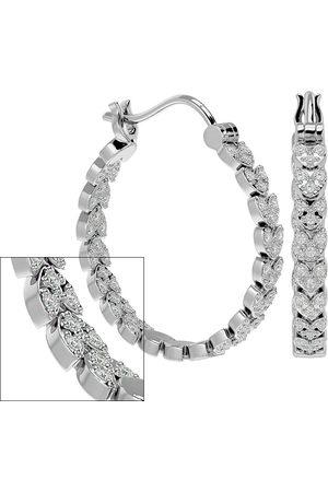 SuperJeweler 1/4 Carat Moissanite Hoop Earrings in Sterling , 1 Inch, E/F