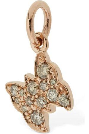 Dodo 9kt Rose Gold Farfalla Charm W/ Diamond