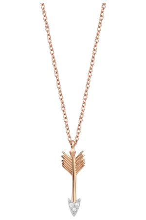Milka 14ct Rose Gold And Diamond Arrow Necklace