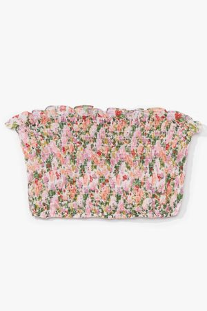 NASTY GAL Womens Nobody Bud You Flora Bandeau Top